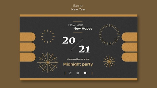Horizontal banner for new year's midnight party