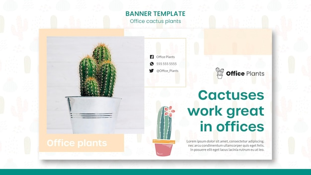 Horizontal banner for office workspace plants