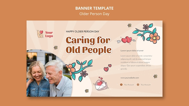 Horizontal banner for older people assistance and care