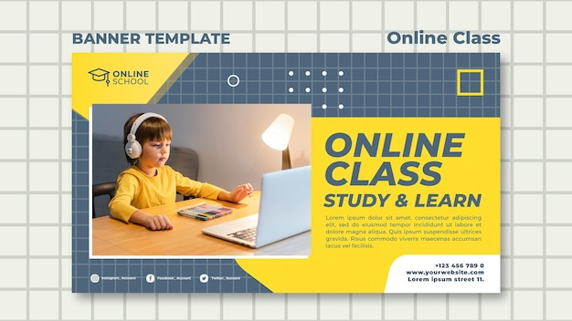 Horizontal banner for online classes with child
