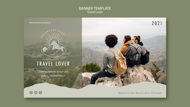 Horizontal banner for outdoors traveling
