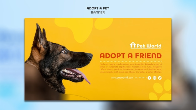 Horizontal banner for pet adoption with dog