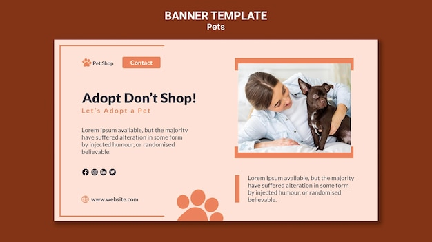 Horizontal banner for pet adoption