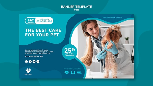 Horizontal banner for pet care with female veterinarian and yorkshire terrier dog