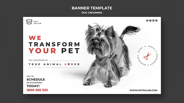 Horizontal banner for pet grooming company