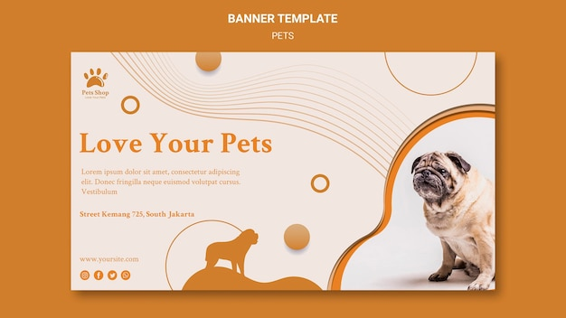 Horizontal banner for pet shop with dog