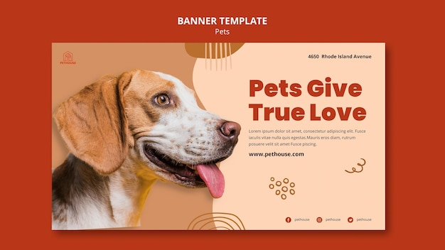 Horizontal banner for pets with cute dog