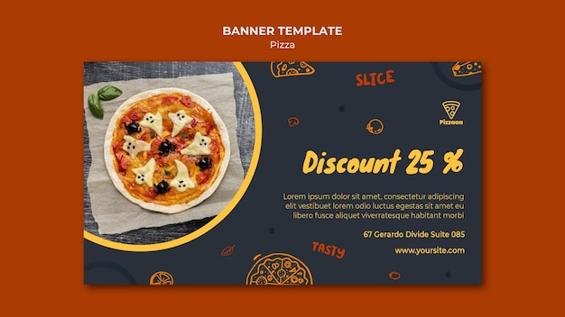 Horizontal banner for pizza restaurant