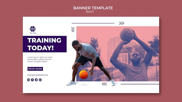 Horizontal banner for playing basketball