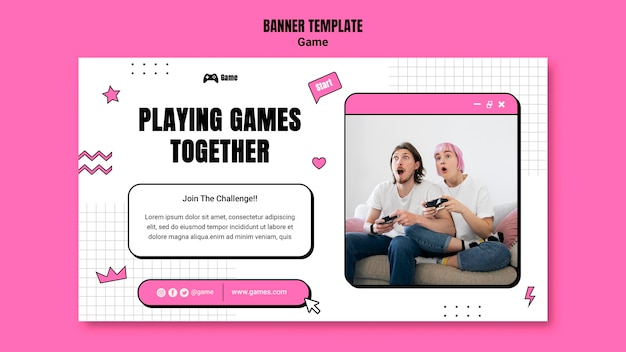 Horizontal banner for playing video games