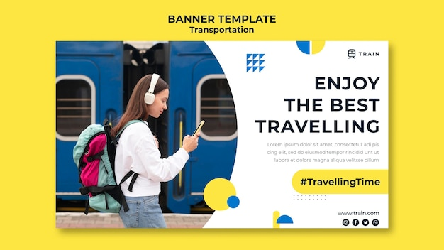 Horizontal banner for public transportation by train with woman