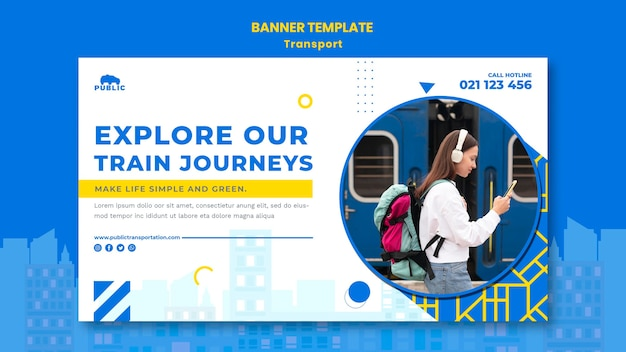 Horizontal banner for public transportation with female commuter