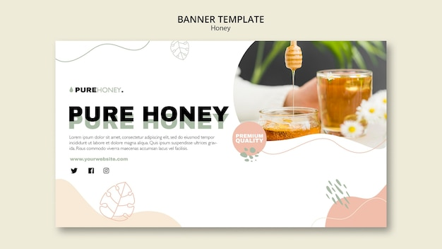 Horizontal banner for pure honey