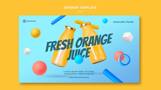Horizontal banner for refreshing orange juice in glass bottles