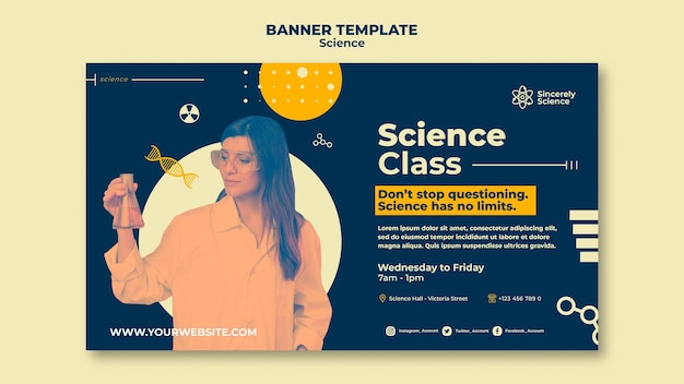Horizontal banner for science class