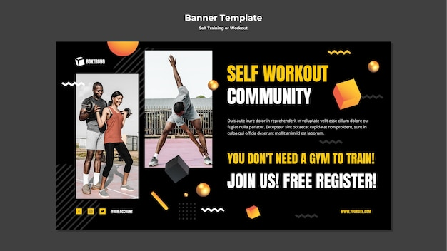 Horizontal banner for self training and working out