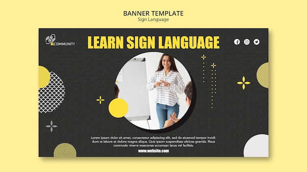 Horizontal banner for sign language communication