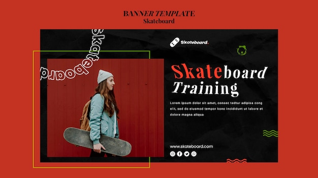 Horizontal banner for skateboarding with woman