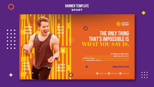 Banner orizzontale per lo sport con citazioni motivazionali