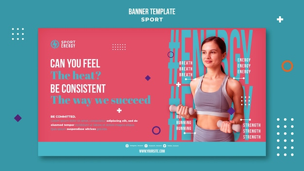 Horizontal banner for sport with motivational quotes