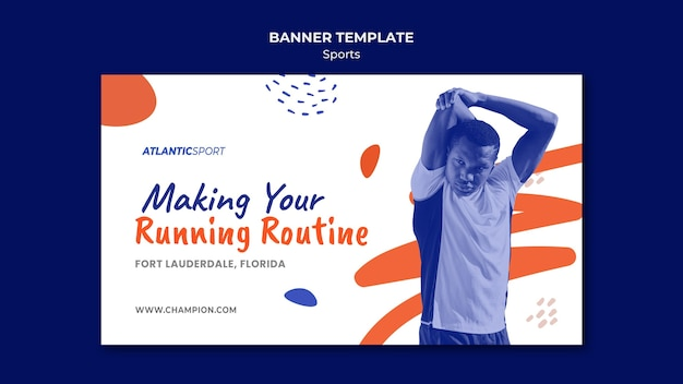Horizontal banner for sports with man