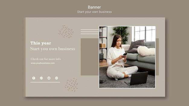 Horizontal banner for starting own business