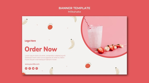 Horizontal banner for strawberry milkshake