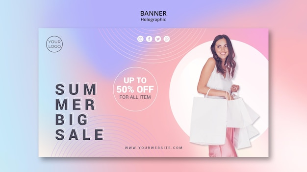 Horizontal banner for summer sale