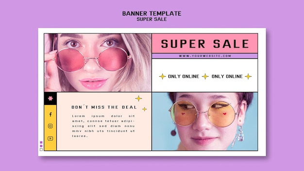Horizontal banner for sunglasses super sale