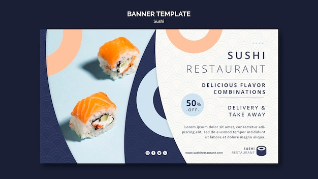 Horizontal banner for sushi restaurant
