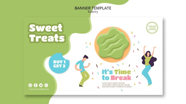 Horizontal banner for sweet baked donuts