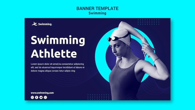 Horizontal banner for swimming with female swimmer