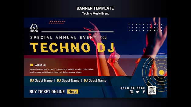 Horizontal banner for techno music night party