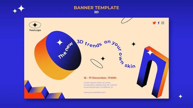 Modello di banner orizzontale per tendenze 3d