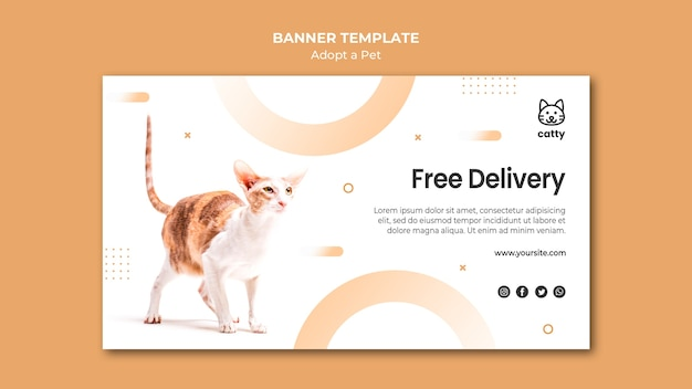 Horizontal banner template for adopting pet with cat