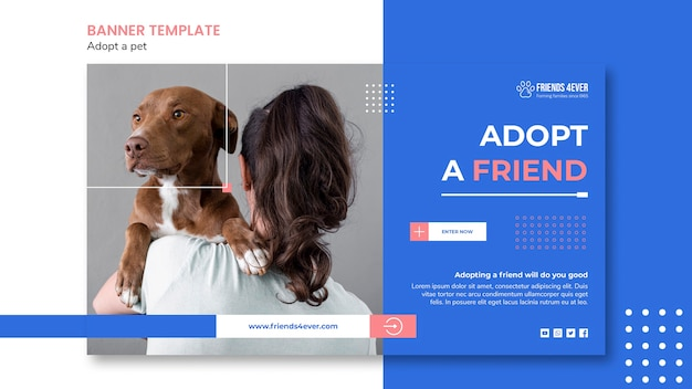 Horizontal banner template for adopting a pet with dog