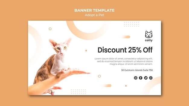 Horizontal banner template for adopting a pet