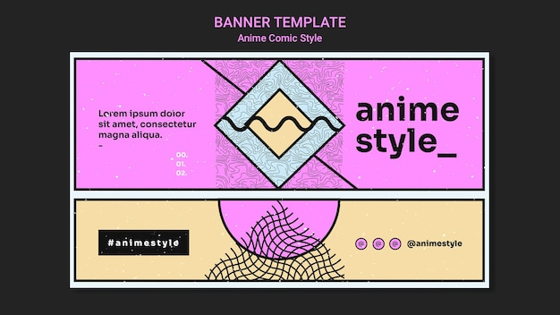 Horizontal banner template in anime comic style