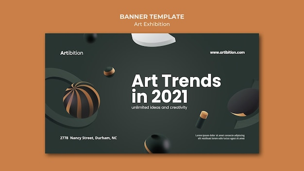 Horizontal banner template for art exhibition with geometric shapes