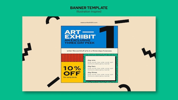 Horizontal banner template for art exhibition