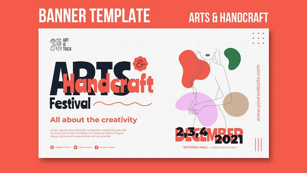 Horizontal banner template for arts and crafts festival