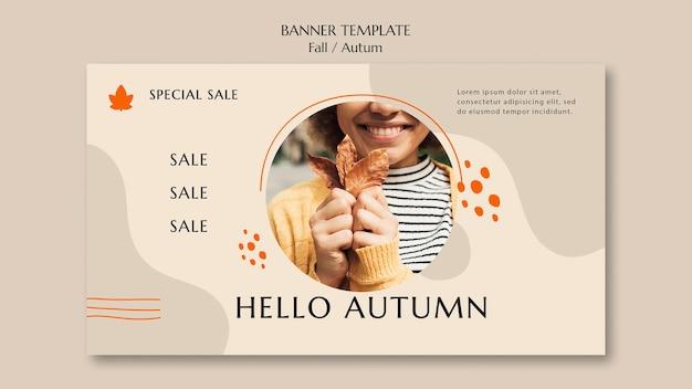 Modello di banner orizzontale per la vendita autunnale