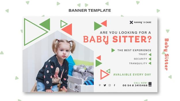 Modello di banner orizzontale per baby-sitter con bambino