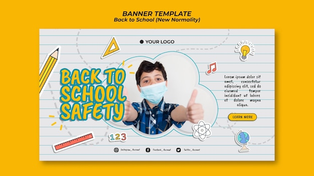 Horizontal banner template for back to school season