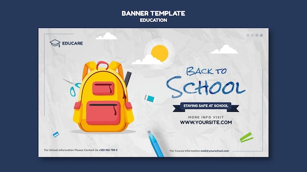 Modello di banner orizzontale per tornare a scuola