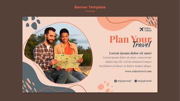 Horizontal banner template for backpack traveling with couple