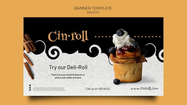 Horizontal banner template for bakery shop