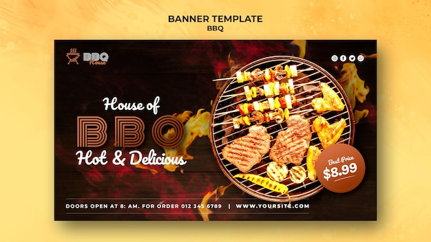 Horizontal banner template for barbecue