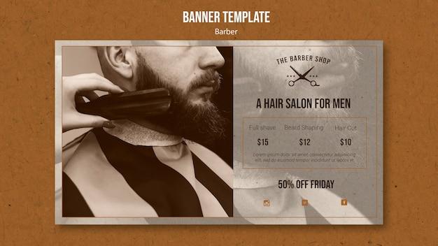 Modello di banner orizzontale per negozio di barbiere