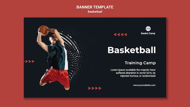 Horizontal banner template for basketball training camp Premium Psd